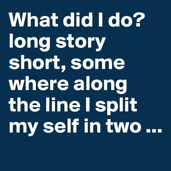 What did I do? long story short, some where along the line I split my self in two ...