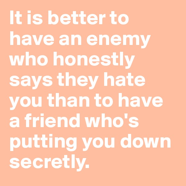 It is better to have an enemy who honestly says they hate you than to have a friend who's putting you down secretly.