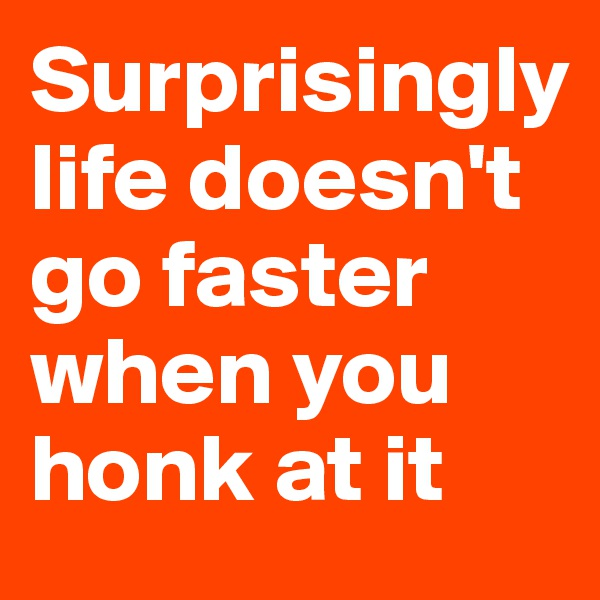 Surprisingly life doesn't go faster when you honk at it