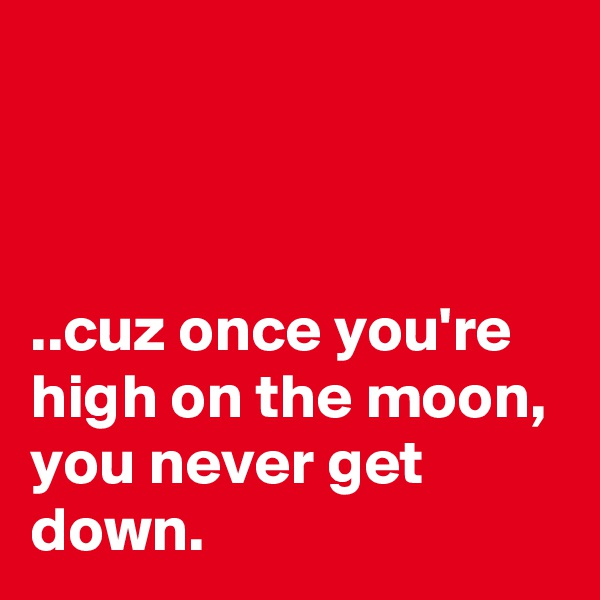 ..cuz once you're high on the moon, you never get down.