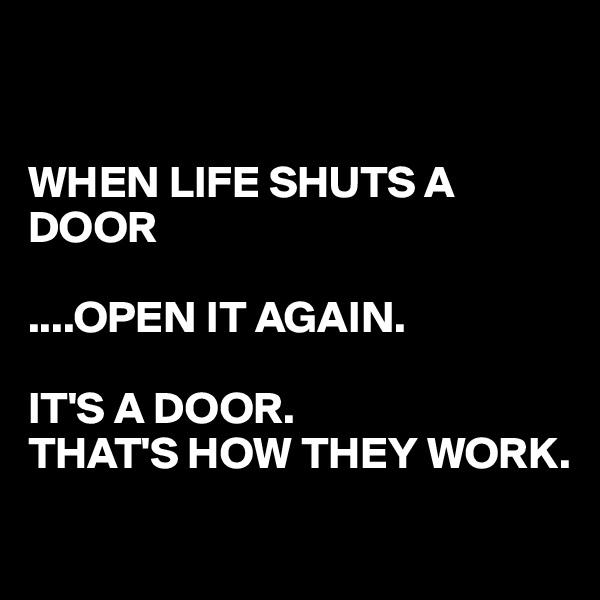 WHEN LIFE SHUTS A DOOR  ....OPEN IT AGAIN.  IT'S A DOOR. THAT'S HOW THEY WORK.