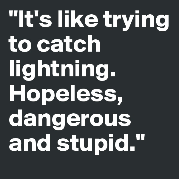 """""""It's like trying to catch lightning. Hopeless, dangerous and stupid."""""""