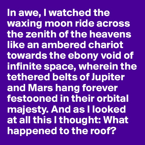 In awe, I watched the waxing moon ride across the zenith of the heavens like an ambered chariot towards the ebony void of infinite space, wherein the tethered belts of Jupiter and Mars hang forever festooned in their orbital majesty. And as I looked at all this I thought: What happened to the roof?