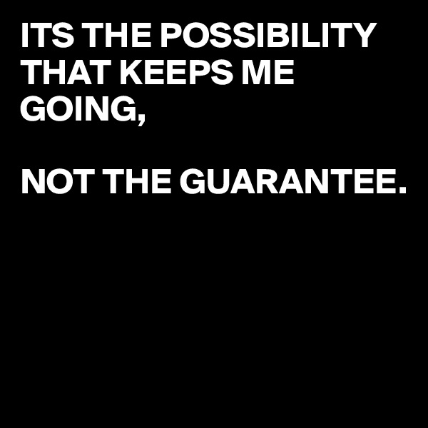 ITS THE POSSIBILITY THAT KEEPS ME GOING,  NOT THE GUARANTEE.