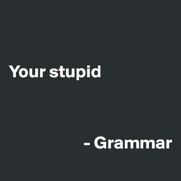 Your stupid                         - Grammar