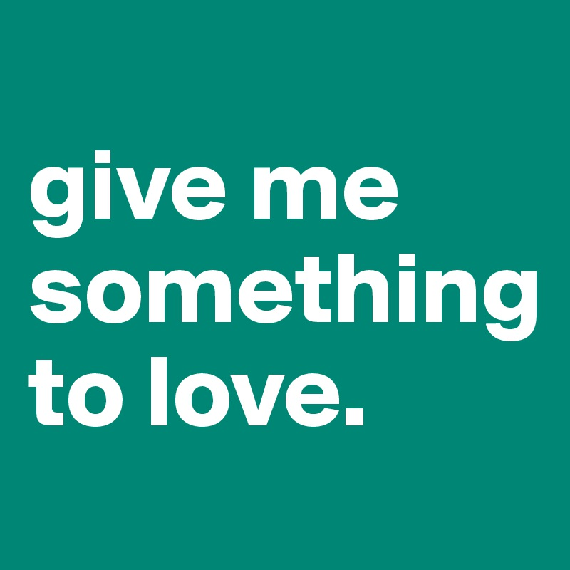give me something  to love.