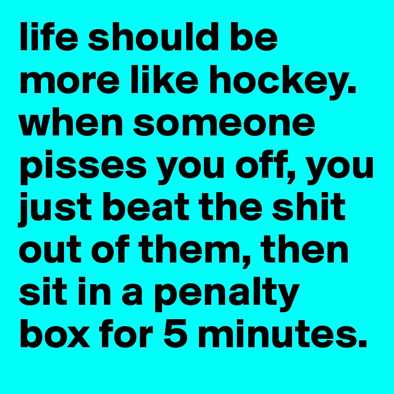 life should be more like hockey. when someone pisses you off, you just beat the shit out of them, then sit in a penalty box for 5 minutes.