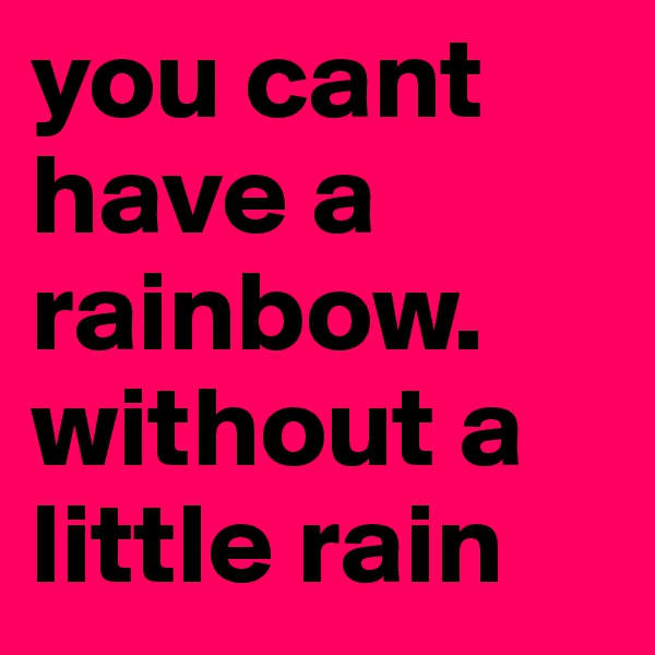 you cant have a rainbow.  without a little rain