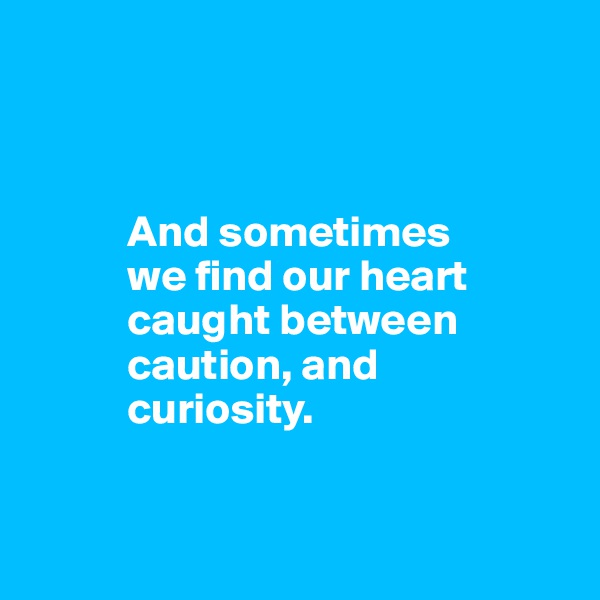 And sometimes             we find our heart             caught between             caution, and             curiosity.