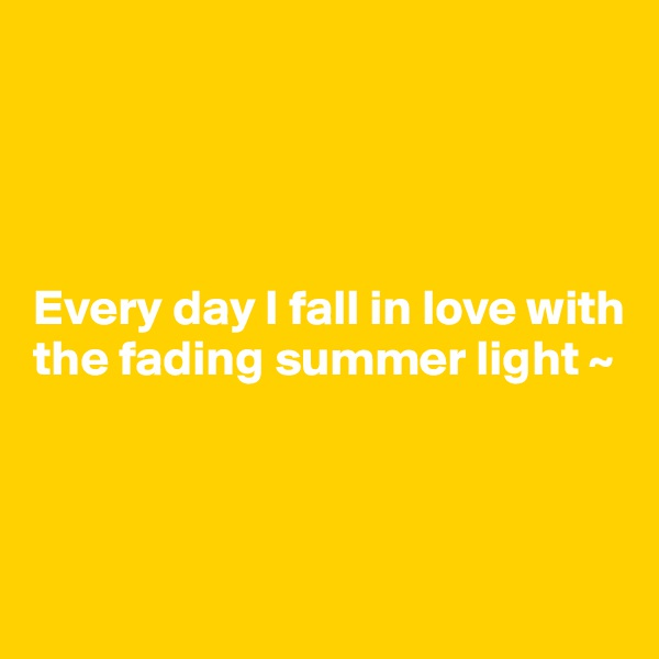 Every day I fall in love with the fading summer light ~