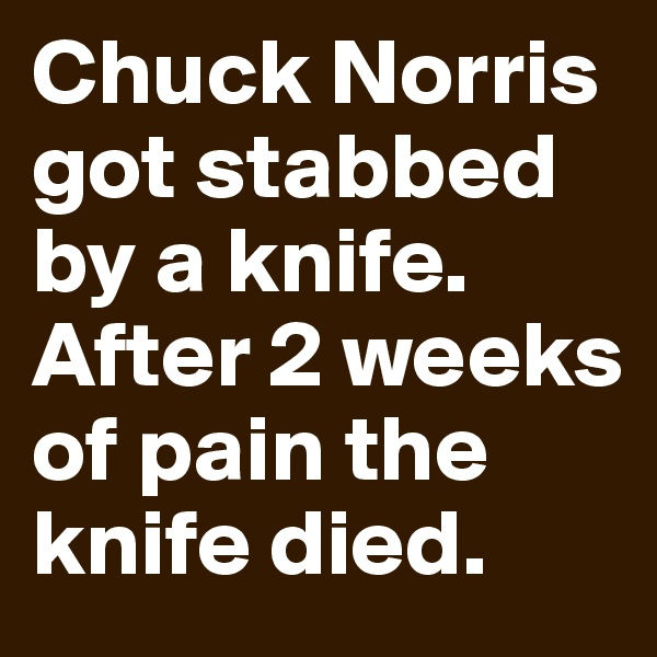 Chuck Norris got stabbed by a knife. After 2 weeks of pain the knife died.