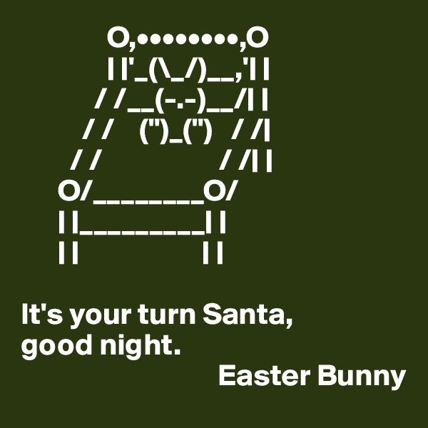 "O,••••••••,O               | |'_(\_/)__,'| |             / /__(-.-)__/| |           / /    ("")_("")   / /