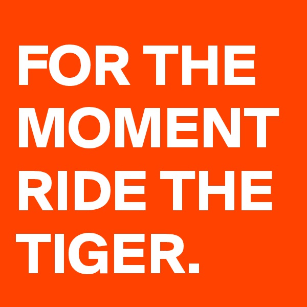 FOR THE MOMENT RIDE THE TIGER.