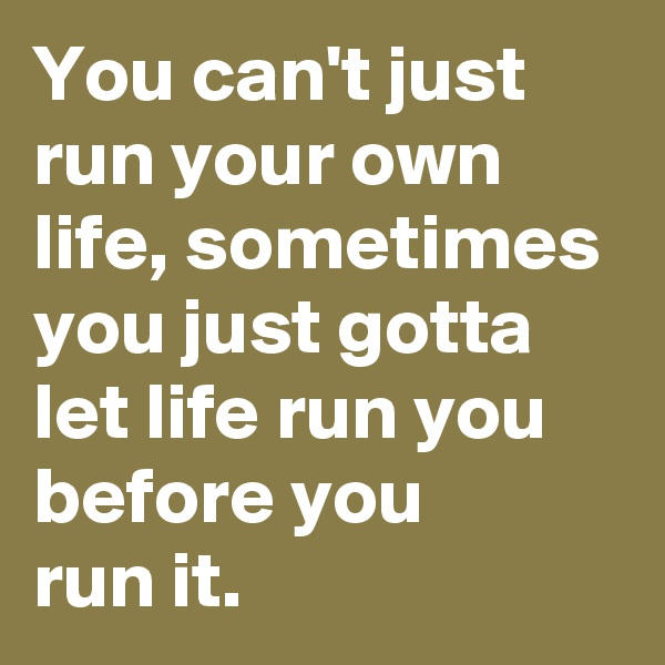 You can't just run your own life, sometimes you just gotta let life run you before you run it.