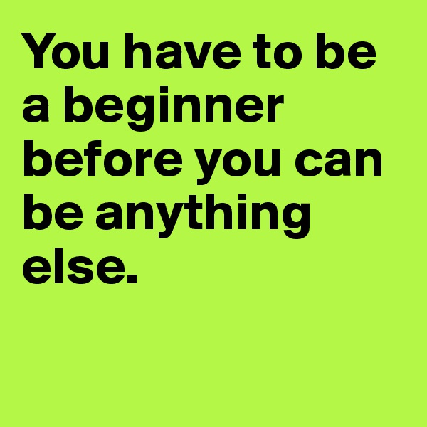You have to be a beginner before you can be anything else.