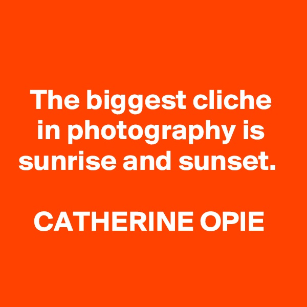 The biggest cliche in photography is sunrise and sunset.   CATHERINE OPIE
