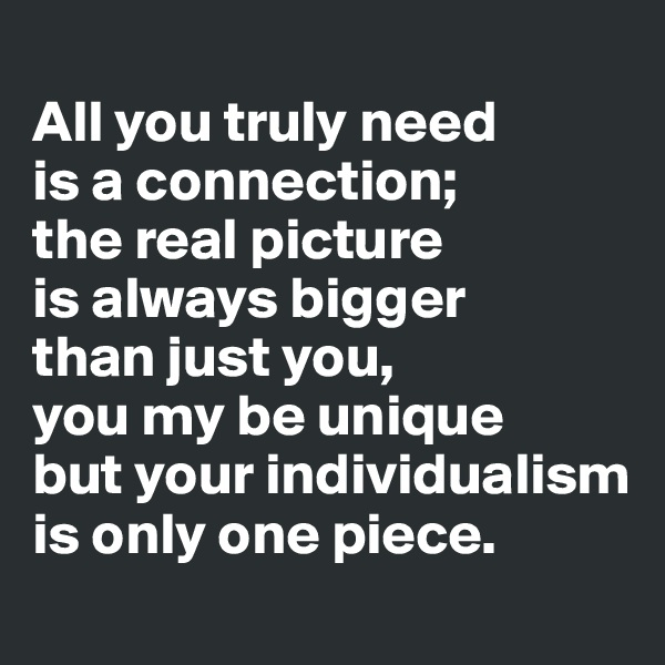 All you truly need  is a connection;  the real picture  is always bigger  than just you,  you my be unique but your individualism is only one piece.