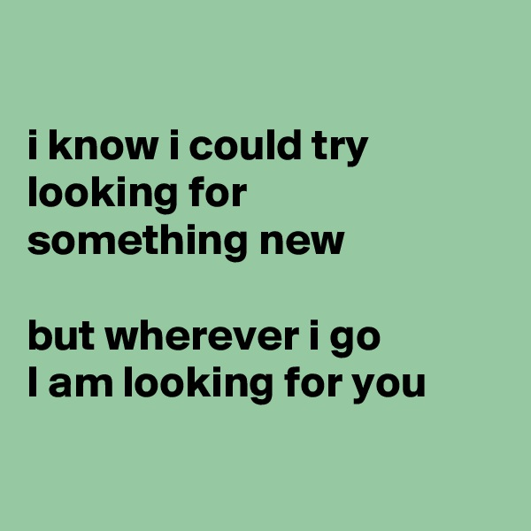 i know i could try  looking for  something new  but wherever i go I am looking for you