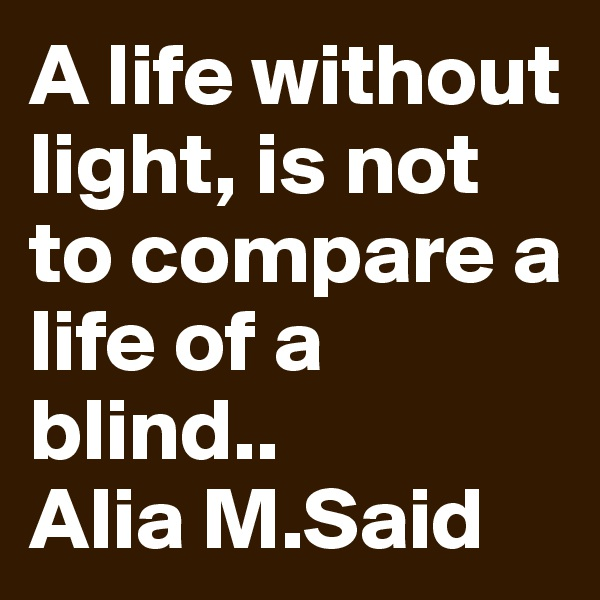 A life without light, is not to compare a life of a blind.. Alia M.Said