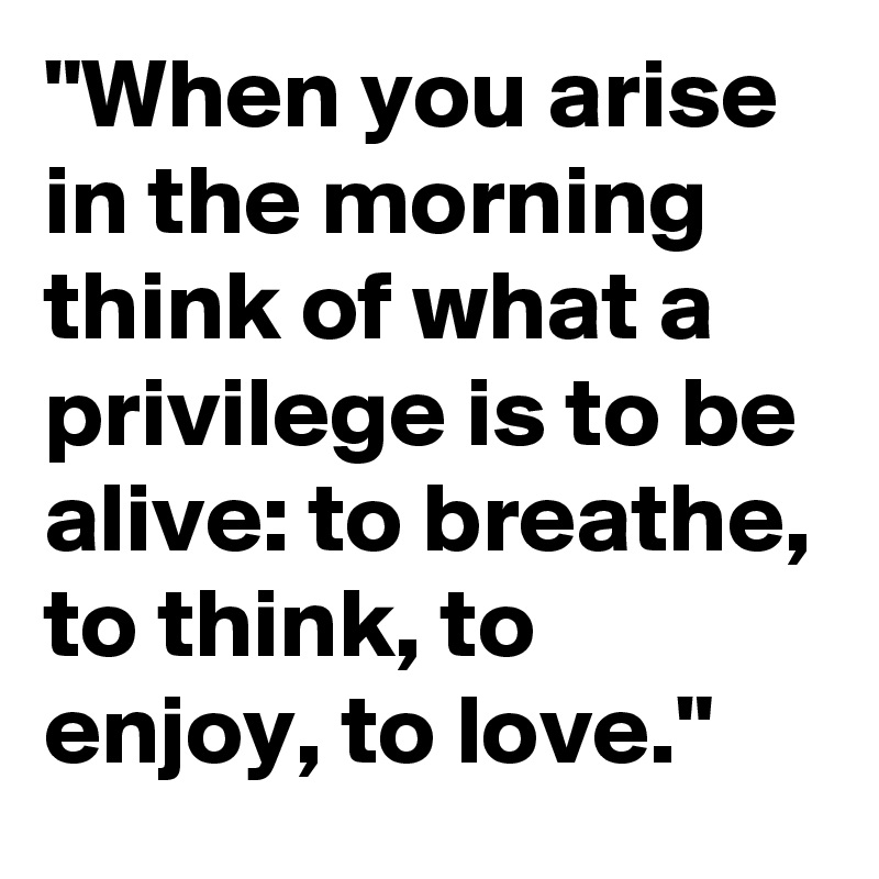 When You Arise In The Morning Think Of What A Privilege Is To Be