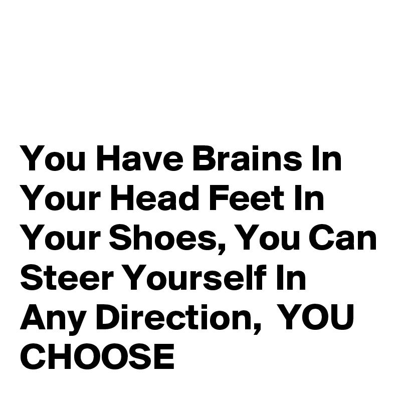 You Have Brains In Your Head Feet In Your Shoes, You Can Steer Yourself In Any Direction,  YOU CHOOSE