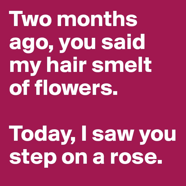 Two months ago, you said my hair smelt of flowers.  Today, I saw you step on a rose.