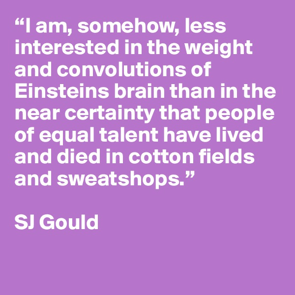 """""""I am, somehow, less interested in the weight and convolutions of Einsteins brain than in the near certainty that people of equal talent have lived and died in cotton fields and sweatshops.""""  SJ Gould"""