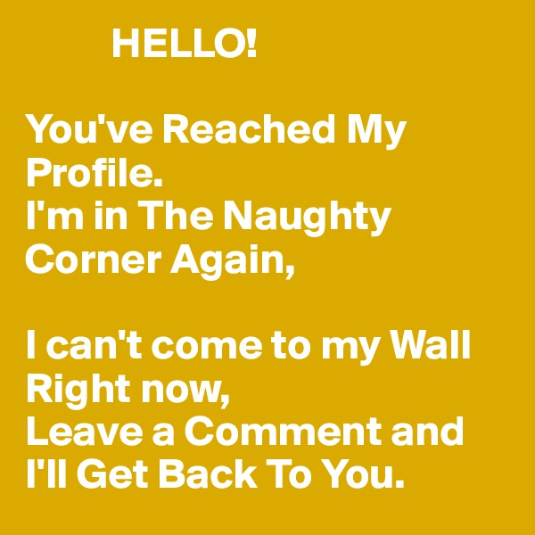 HELLO!  You've Reached My Profile. I'm in The Naughty Corner Again,  I can't come to my Wall Right now, Leave a Comment and I'll Get Back To You.
