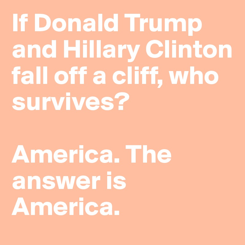 If Donald Trump and Hillary Clinton fall off a cliff, who survives?  America. The answer is America.