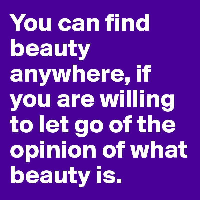 You can find beauty anywhere, if you are willing to let go of the opinion of what beauty is.
