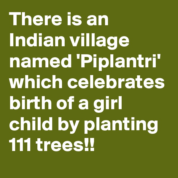 There is an Indian village named 'Piplantri' which celebrates birth of a girl child by planting 111 trees!!