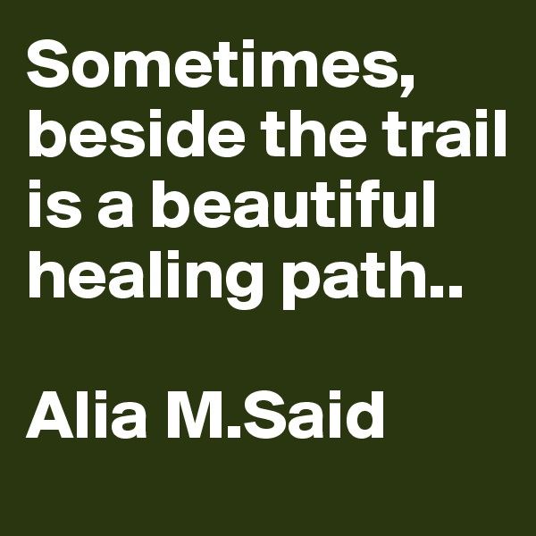 Sometimes, beside the trail is a beautiful healing path..  Alia M.Said