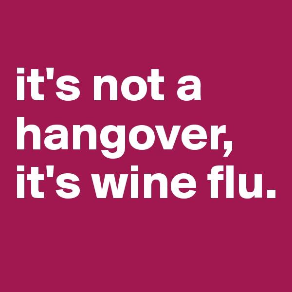 it's not a hangover, it's wine flu.