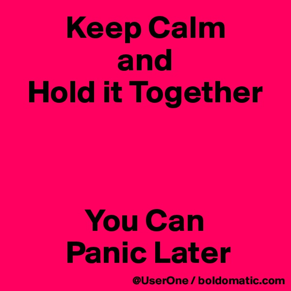 Keep Calm                 and   Hold it Together               You Can         Panic Later
