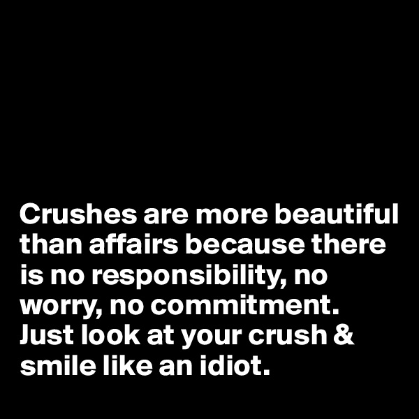 Crushes are more beautiful than affairs because there is no responsibility, no worry, no commitment. Just look at your crush & smile like an idiot.