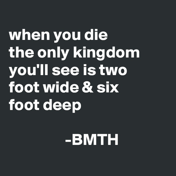 when you die the only kingdom you'll see is two foot wide & six  foot deep                                                                  -BMTH