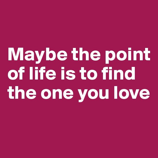 Maybe the point of life is to find the one you love