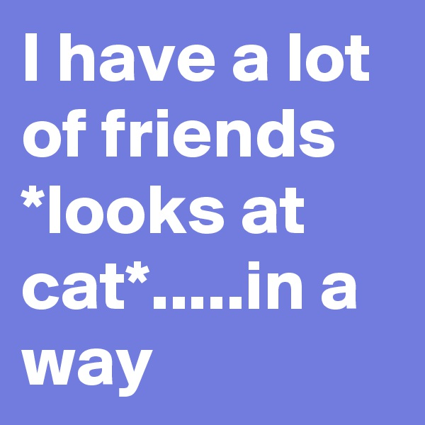 I have a lot of friends *looks at cat*.....in a way