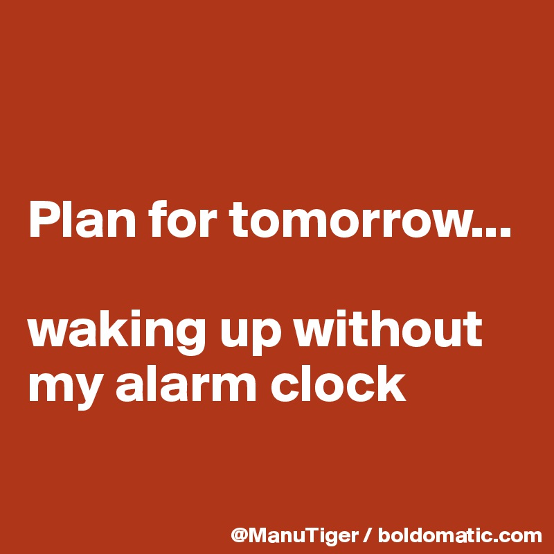 Plan for tomorrow...   waking up without my alarm clock