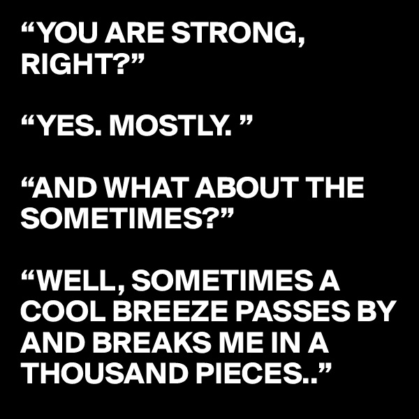 """""""YOU ARE STRONG, RIGHT?""""  """"YES. MOSTLY. """"  """"AND WHAT ABOUT THE SOMETIMES?""""  """"WELL, SOMETIMES A COOL BREEZE PASSES BY AND BREAKS ME IN A THOUSAND PIECES.."""""""