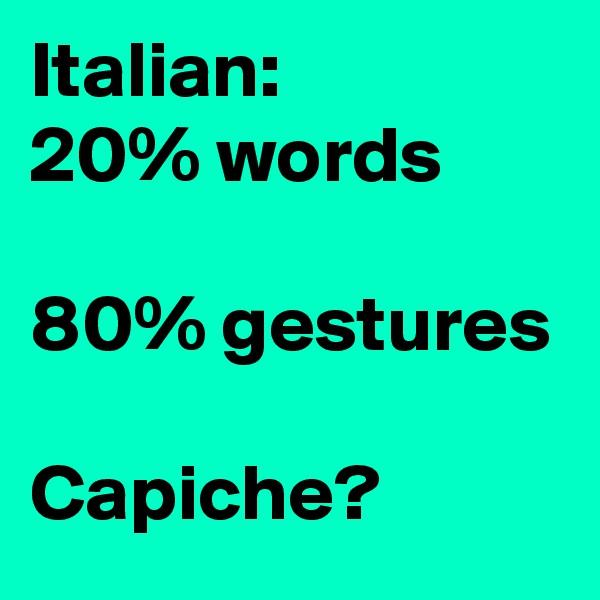 Italian: 20% words  80% gestures  Capiche?