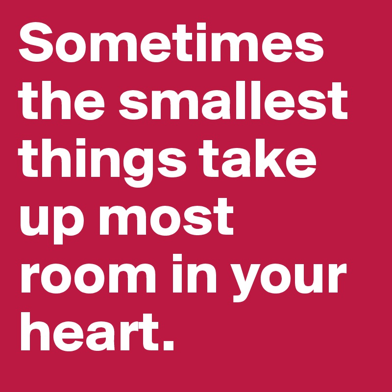 Sometimes the smallest things take up most room in your heart.