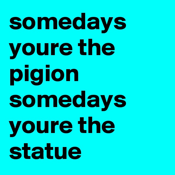 somedays youre the pigion somedays youre the statue