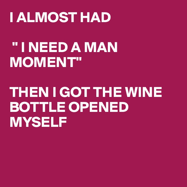 """I ALMOST HAD   """" I NEED A MAN MOMENT""""  THEN I GOT THE WINE BOTTLE OPENED MYSELF"""
