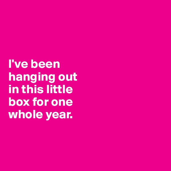 I've been  hanging out  in this little  box for one  whole year.