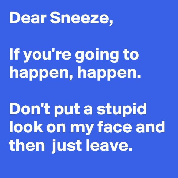 Dear Sneeze,  If you're going to happen, happen.  Don't put a stupid look on my face and then  just leave.