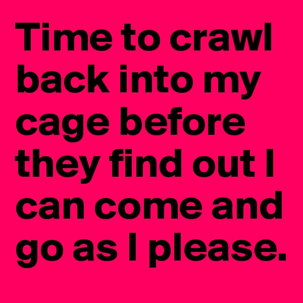 Time to crawl back into my cage before they find out I can come and go as I please.