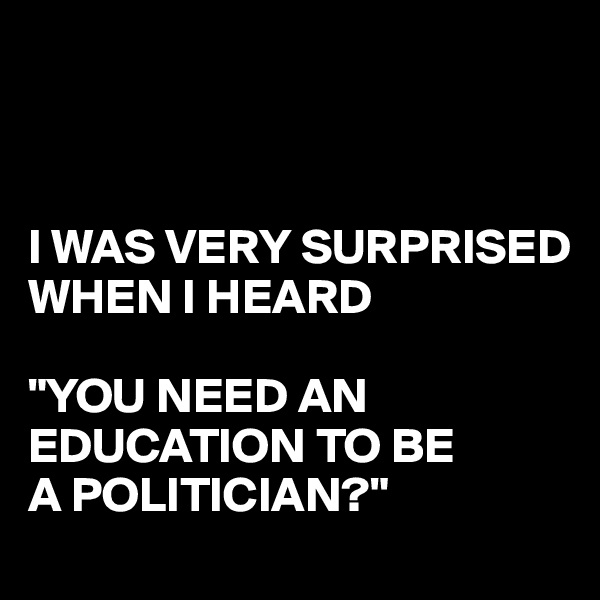 "I WAS VERY SURPRISED WHEN I HEARD  ""YOU NEED AN EDUCATION TO BE A POLITICIAN?"""