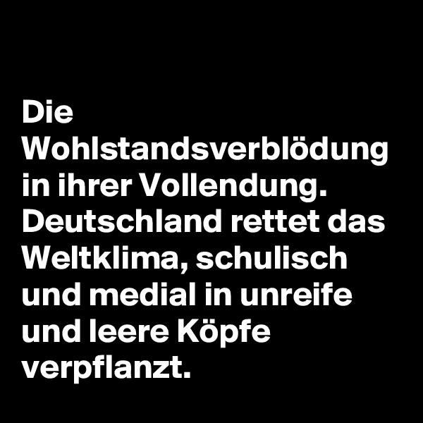 Die Wohlstandsverblödung in ihrer Vollendung.  Deutschland rettet das Weltklima, schulisch und medial in unreife und leere Köpfe verpflanzt.