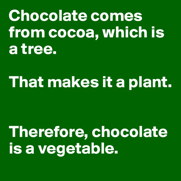 Chocolate comes from cocoa, which is a tree.  That makes it a plant.   Therefore, chocolate is a vegetable.